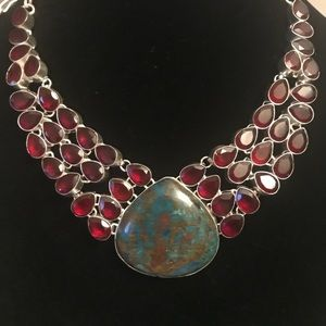 Azurite & garnet gemstone 18in 925 necklace